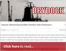 DryDock Publishes Opinion Piece On 'Monitoring Scrubber Systems With Ultrasonics' - 8th November 2018