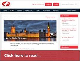 Ian Moore CEO Of FIA Publishes Carl Hunter's Article 'A British Dream' - 20 Dec 2017