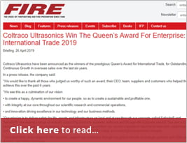 FIRE Shares Coltraco Ultrasonics Queen's Awards News - 26 April 2019