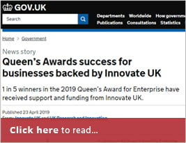 Queen's Awards Success For Businesses Backed By Innovate UK - Gov.UK - 23 April 2019