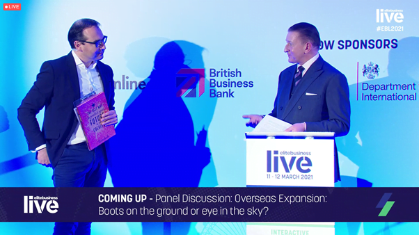 Elite Business Live Carl Hunter OBE and Olly interview 2 overseas panel overlay